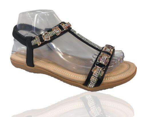 Ladies Womens Flat Diamante Summer Flip Flops Flower Open Toe Sandal Shoes Size