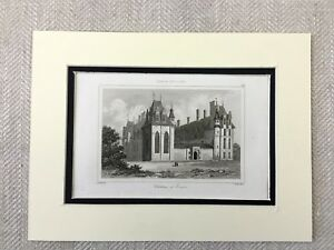 1830-Chateau-d-Ecouen-France-Old-French-Architecture-Antique-Engraving-Print
