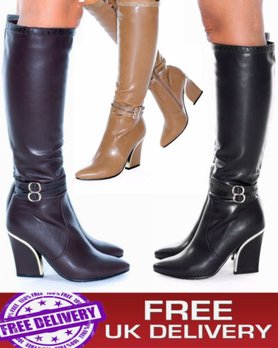 Womens Mid Calf Knee High Shoes Gorgeous Low Block Heel Pu Leather Ladies Boots