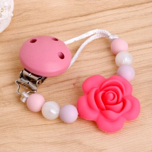 Baby Kids Silicone Clip Chain Holders Flower Pacifier Soother Nipple Leash Strap