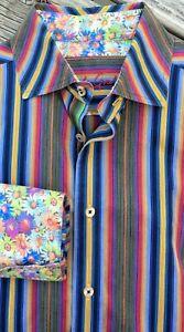 Robert-Graham-Striped-Flowers-Button-Up-L-Purple-Blue-Cotton-Flip-Cuffs-Stripe
