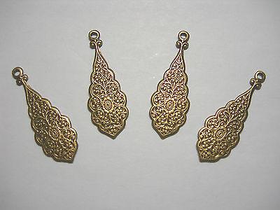 Oxidized Brass Embossed Victorian Drops Earring Findings 4