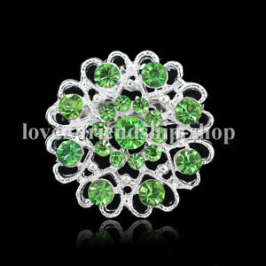 Green-Wedding-Rhinestone-Crystal-Brooches-Pin-For-Bridal-Bouquet-Flower-Diamante