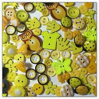 100 Yellow & Gold Assorted Buttons For Sewing Scrapbook & Crafts Big Lot 100