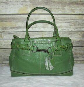 8eb025794 Image is loading COACH-Hampton-Green-Pebbled-Leather-Purse-Shoulder-Bag-