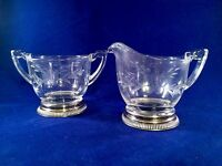 Vintage Etched Floral Design Glass Sugar Bowl & Creamer Set Sterling Silver Base