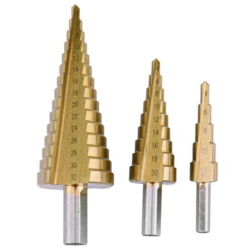 1//3x High Speed Steel Titanium Step Cone Cutting Drill Bits 4-12mm 4-20mm 4-32mm