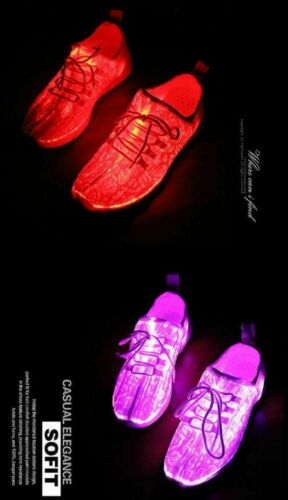 Led Shoes USB Chargeable Glowing Sneakers Fiber Optic Shoes For Girls Boys 2019
