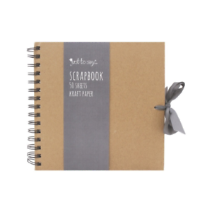 Tallon Kraft Medium Square Scrapbook Brown Kraft Paper Scrapbook with Ribbon New
