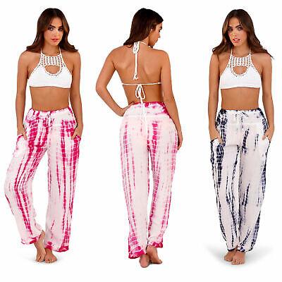 South Beach Womens Tie Dye Designer Beach Pants Ladies Loose Fit Harem Trousers