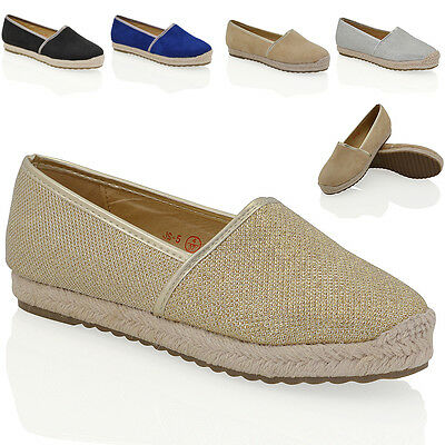 Womens Espadrilles Shoes Ladies Flatform Casual Summer Flat Slip On Pumps Size Lassen Sie Unsere Waren In Die Welt Gehen