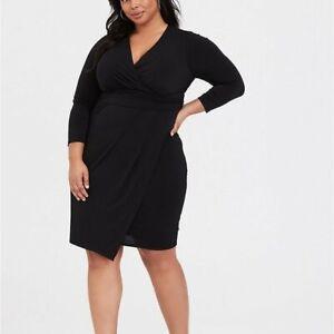 Torrid-4X-Dress-Black-Faux-Wrap-3-4-Sleeves-Plus-Size-Studio-Knit-Surplice-LBD