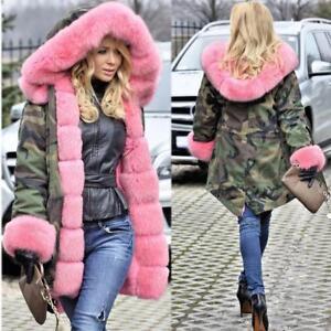 df4ec34264ce7 Women Ladies Winter Warm Coat Hooded Pink Fox Fur Parka Camouflage ...