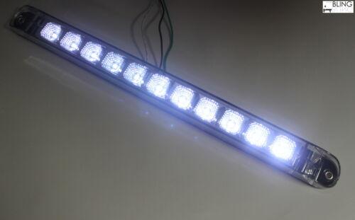 "White 17/"" Bright Signal Fog Clear LED Light Bar Truck Trailer Car Bright +"