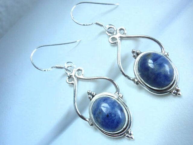 Sodalite 925 Sterling Silver Dangle Drop Earrings Fashion Gift New