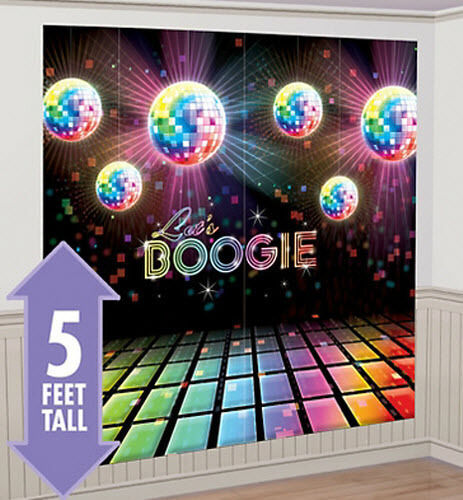 LET'S BOOGIE Scene Setter party wall decor kit 5' birthday disco fever dance