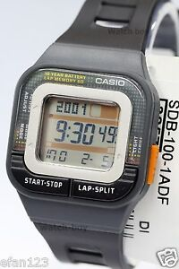 SDB-100-1A-Black-Casio-Watches-Ladies-Stopwatch-Day-Date-Resin-Band-Brand-New