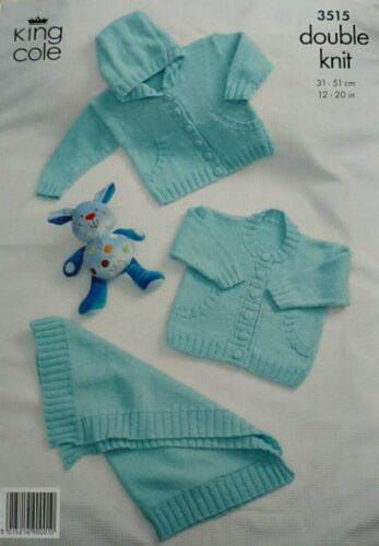 KNITTING PATTERN Baby Jackets and Hoodie with Pockets Blanket DK KingCole 3515