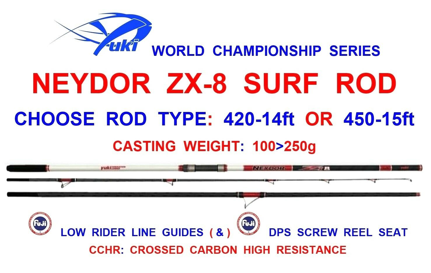 YUKI NEYDOR ZX-8 SURF ROD SEA FISHING 3pc BEACHCASTER FUJI LINE GUIDES+REEL SEAT