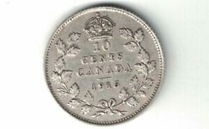 CANADA-1915-TEN-CENTS-DIME-KING-GEORGE-V-STERLING-SILVER-COIN-CANADIAN