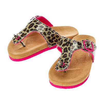 Girls Claire/'s Club Leopard Sandals Patent Faux Leather Hot Pink Size 11//12
