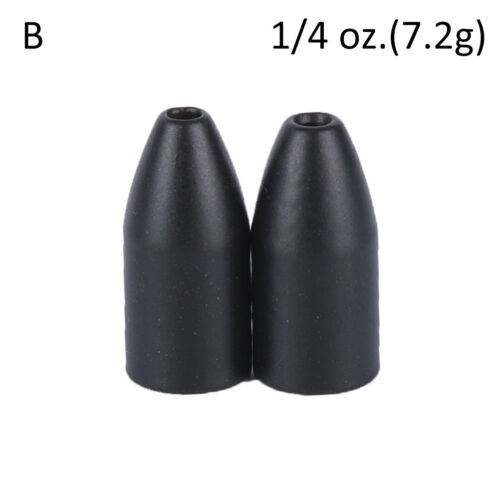 2x Black Tungsten Bullet Flipping Weight Fishing Sinker Lure Fishing Accessor TG