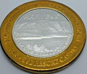 Casino-Silver-Strike-2000-Harvey-039-s-Lake-Tahoe-999-Silver-10-Gaming-Token