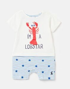 Joules Baby Boys Pebble Mock Layer Babygrow - White Lobster