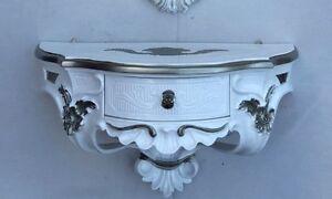 Wandkonsole-Antik-Spiegelkonsolen-mit-SCHUBLADE-BAROCK-Weiss-Silber-B-50cm-cp84
