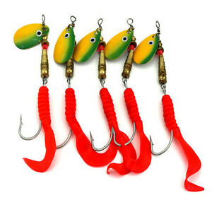 5x-Set-Spinner-Fishing-Baits-Metal-Golden-Red-Spoon-Lures-Fishing-Hook-10-5cy3
