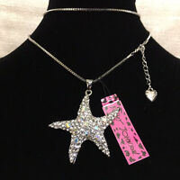Betsey Johnson Pave Crystal Clear & Parti-colored Starfish Pendant Necklace