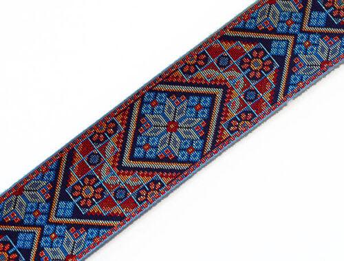 Blue Wide, Heavy, Jacquard, Tapestry Trim. Mosaic Motif. 3 yards. 2.25 wide