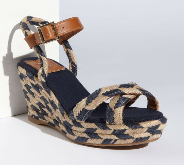 58637e285 NEW TORY BURCH Camelia Mid Wedge Espadrille US 10 M Sandal Navy Natural Tan