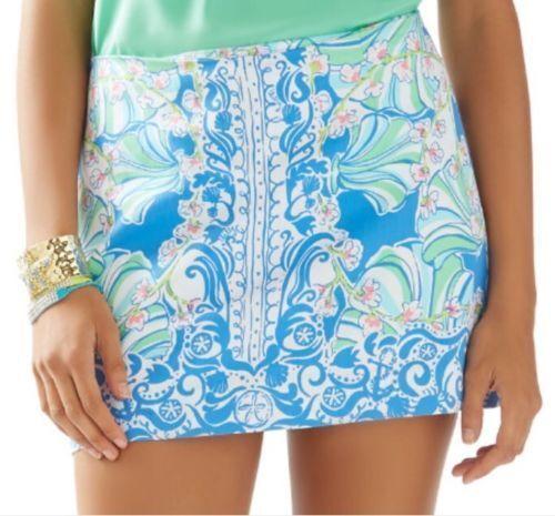 NEW Lilly Pulitzer TATE SKIRT Bay bluee Coasting Engineered Tate Mini Skirt 4