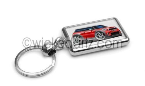 RetroArtz Cartoon Car BMW Mini Clubman in Red Premium Metal Key Ring