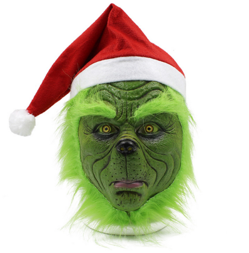 Grinch Mask Christmas Cosplay Stole Costume Helmet Adult Latex Party Halloween