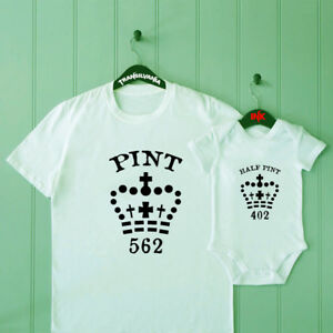 63fc7479 Pint And Half Pint Dad and Son Matching T Shirt Baby Shower Bodysuit ...