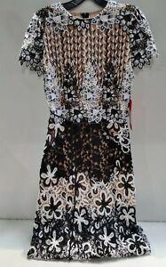 f3df0fa0f00 Monique Lhuillier Women s Mixed Lace Midi Cocktail Dress Size 6 ...