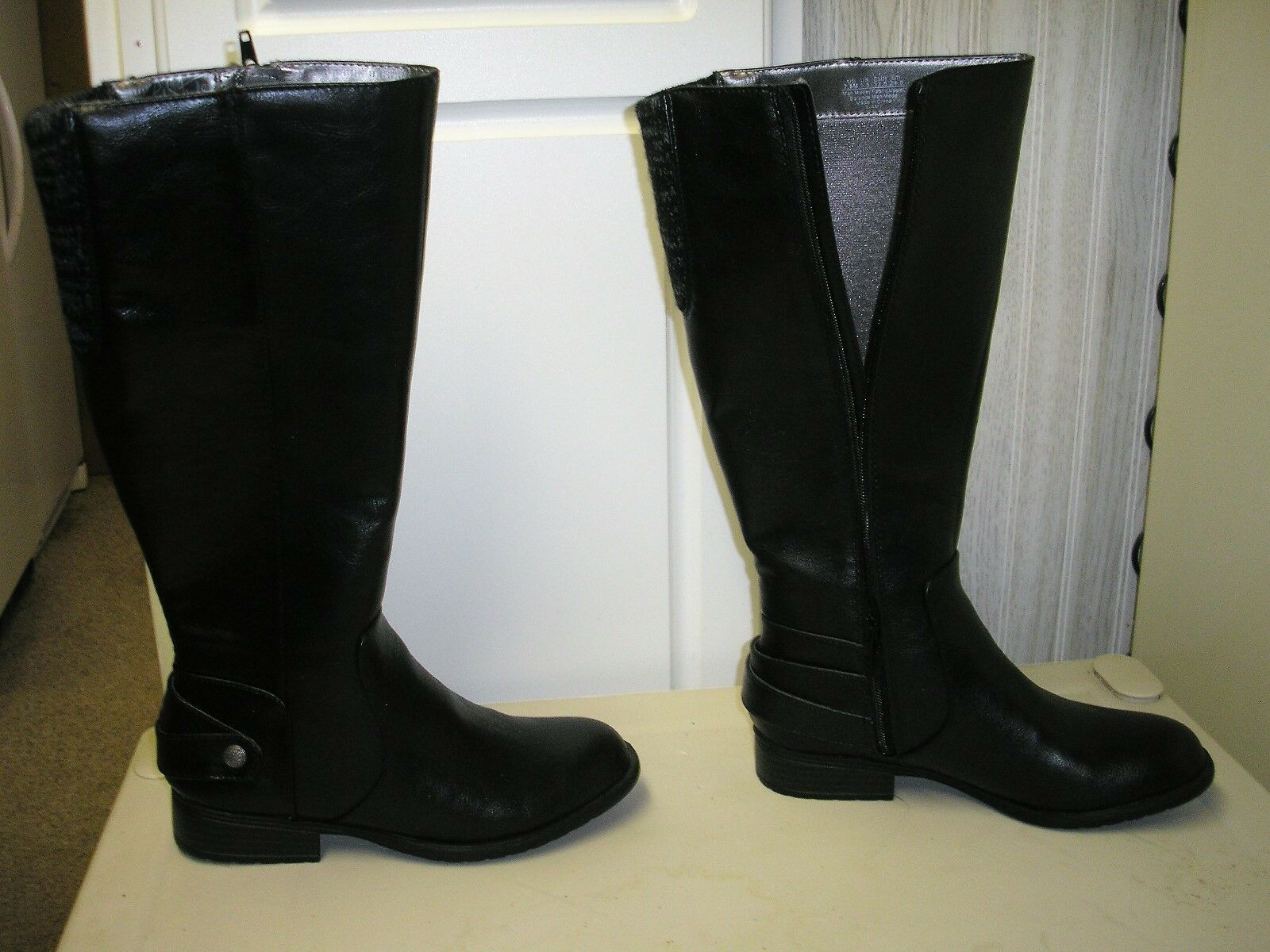Life Stride Xandy Riding Boots Wide Calf Black Size 7.5 Women's