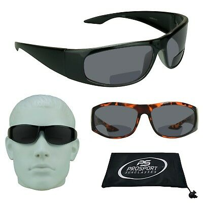 Z87 SAFETY BIFOCAL Sunglasses Dark Tinted Reading Glasses Sport Wrap Sun Readers