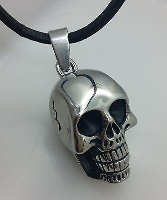 Ausdrucksvoll Totenkopf Edelstahl Kettenanhänger Skull Gross Schädel Anhänger Biker Gothic Neu Einfach Zu Reparieren