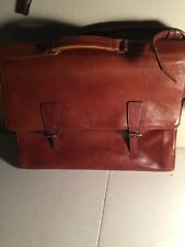 HiDesign Brown Leather Briefcase/Laptop/Messenger Bag w/ Detachable Strap