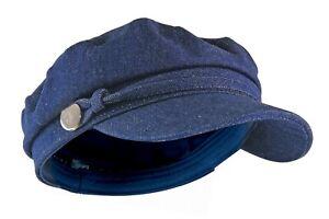 Femme-Vintage-Casquette-Plate-Beret-Chapeau-en-Denim-Bleu-Jean