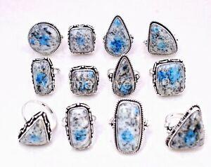 New Wholesale 20 PCs. Lot Natural K2 Jasper 925 Silver Plated Rings Jewelry m/7