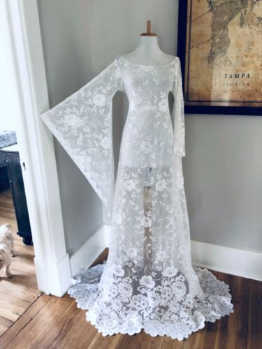 Custom BoHo Sheer CUT OUT Hippy Wedding Maxi DRESS