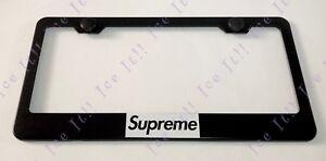 2X White SUPREME Box Logo Black Stainless Steel License Plate Frame Rust Free