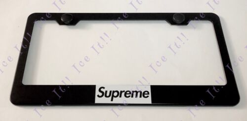 SUPREME White On Black Stainless Steel Black License Plate Frame Rust Free Caps