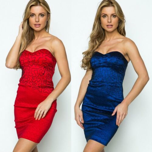 596 PARTY CLUBBING CLOSE-FITTING EMBOSSED BANDEAU BODYCON MINI DRESS SIZE S M L