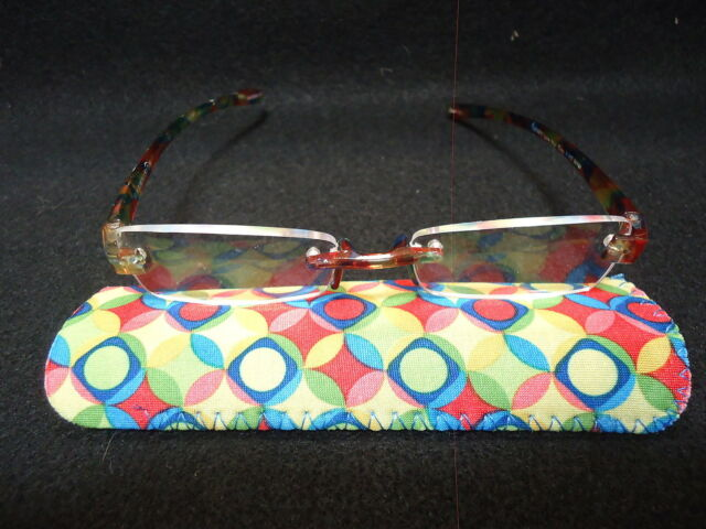 "Red/Yellow Pattern Rimless Magnivision ""Line Your Eyes"" Readers NIB +2.00"