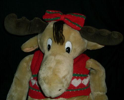 HOLLY 1987 COMMONWEALTH CHRISTMAS MOOSTLETOE MOOSE STUFFED ANIMAL PLUSH GIRL